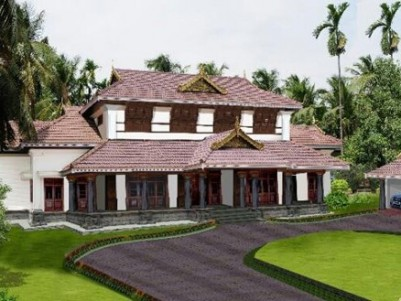 1.1 Acre Land with 7400 Sqft Luxury Villa for sale at Chembukavu , Thrissur