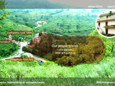 1 Acre Land with 5000 Sq. Ft Building for sale at Vagamon, Idukki