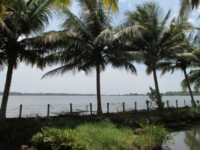 1.98 Acre Water Frontage Land with House for sale at Karunagappally,Kollam.